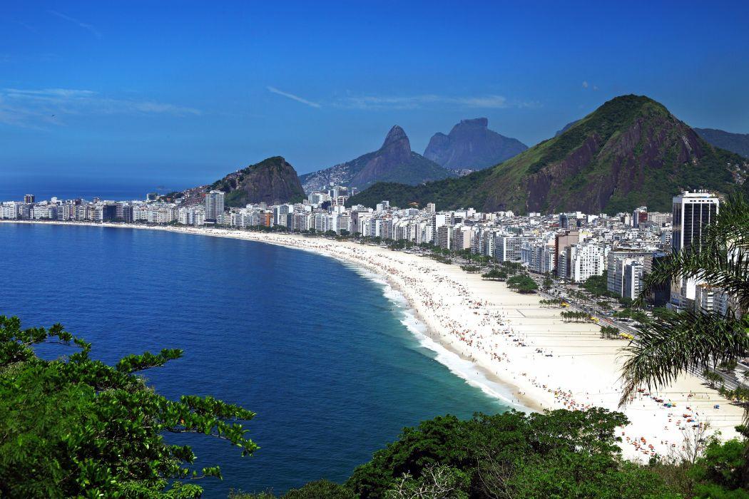Brazil Coast Houses Mountains Rio de Janeiro Cities beach ocean wallpaper