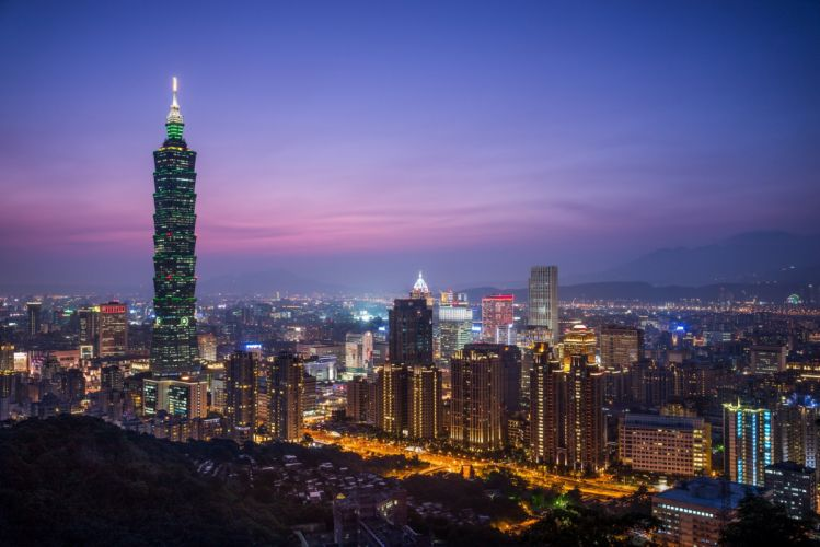 China Taiwan Taipei sunset evening night city lilac purple sky skyscraper tower building house lights lighting height landscape wallpaper