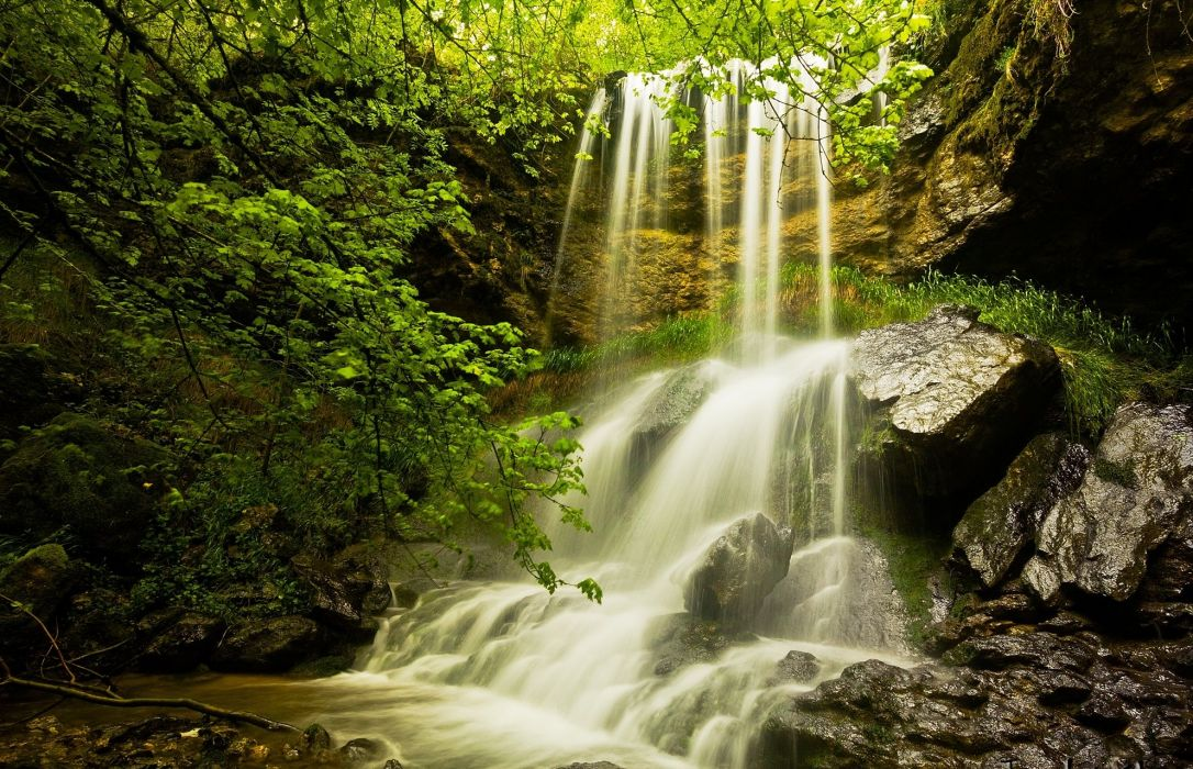 cliff waterfall trees nature wallpaper