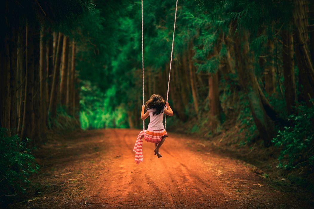 childhood girl swing xhild mood wallpaper