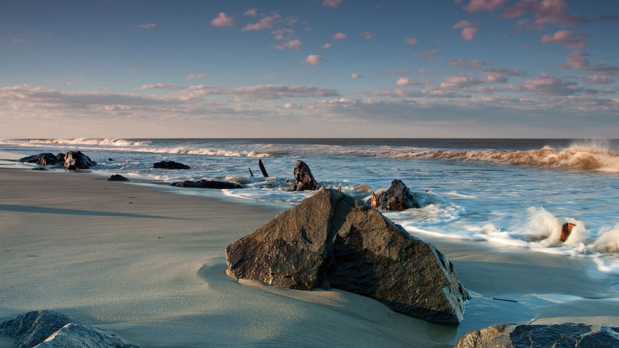 desert sea beach stones tide wallpaper