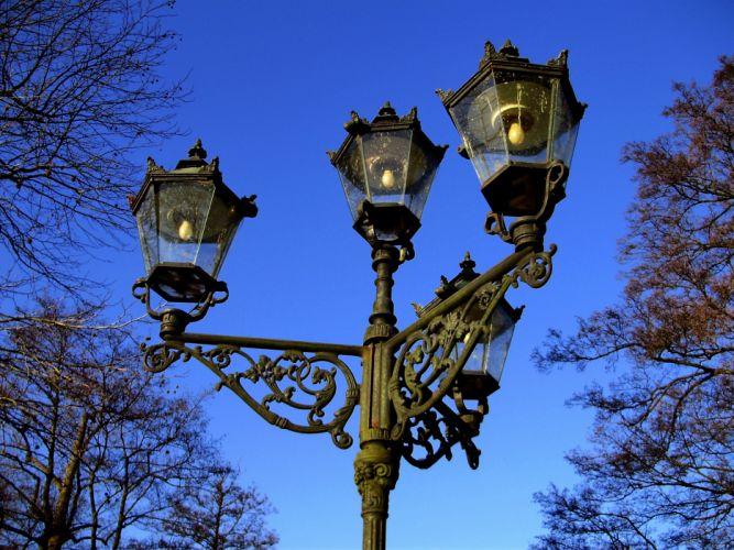 evening lights retro sky blue lamp post wallpaper