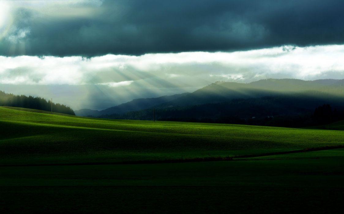 Field grass hills trees forest sky clouds sun morning nature landscape lawn wallpaper