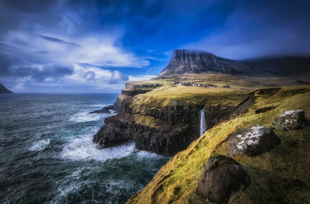 Faroe Islands North Atlantic landscape waterfall ocean sea cliff coast wallpaper