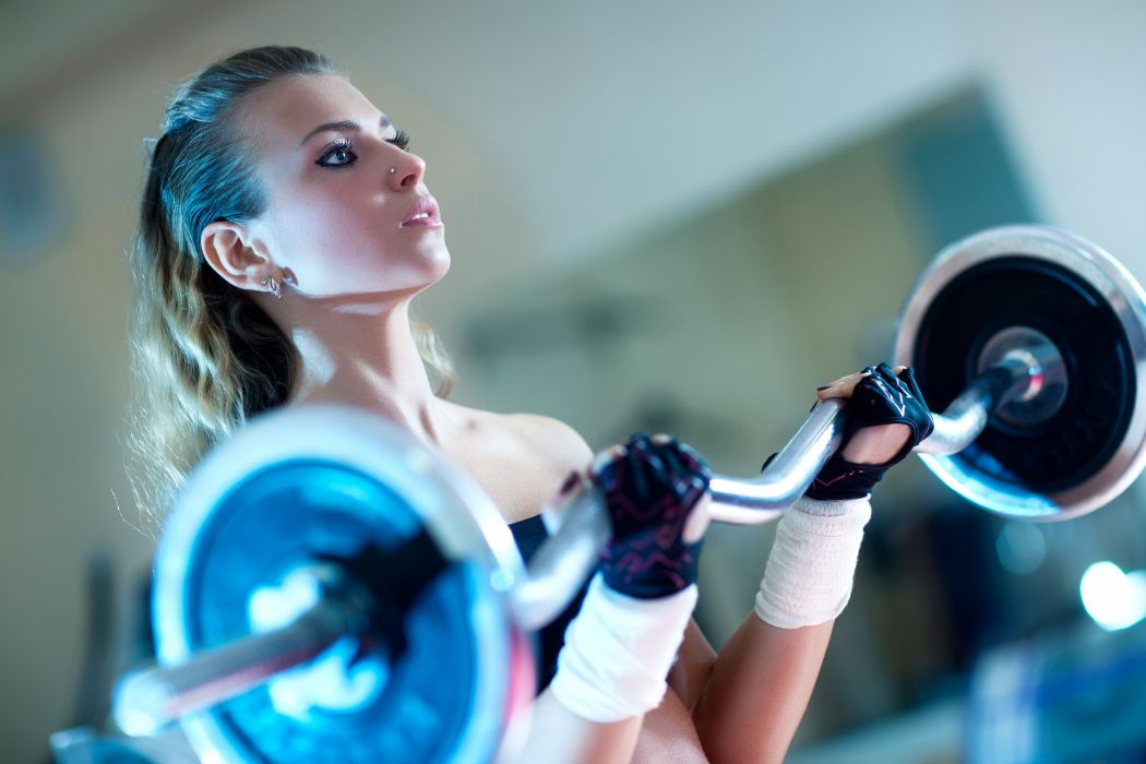 exercise female fitness blonde gloves weightlifting sexy babe wallpaper