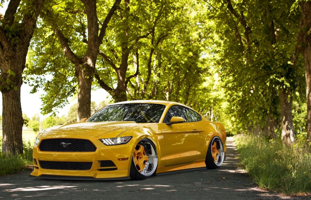 Ford Mustang 2015 Stance Yellow Tuning Front Wheels tuning hot rod rods muscle wallpaper