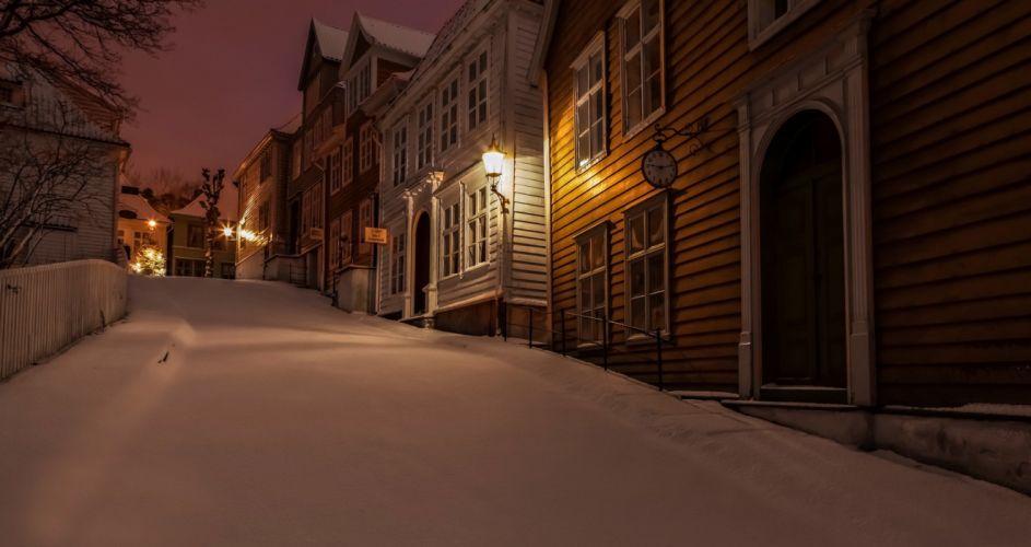 gamlebergen norway norway night winter snow roads houses clocks lights city light lighting wallpaper
