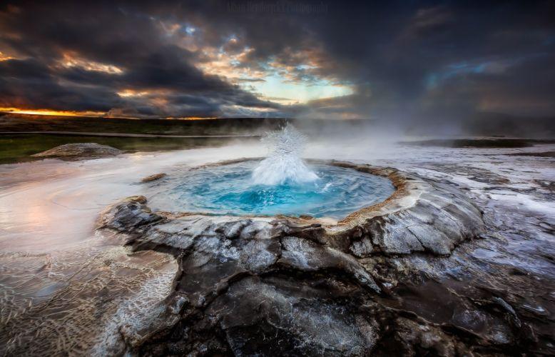 geyser nature clouds Iceland wallpaper
