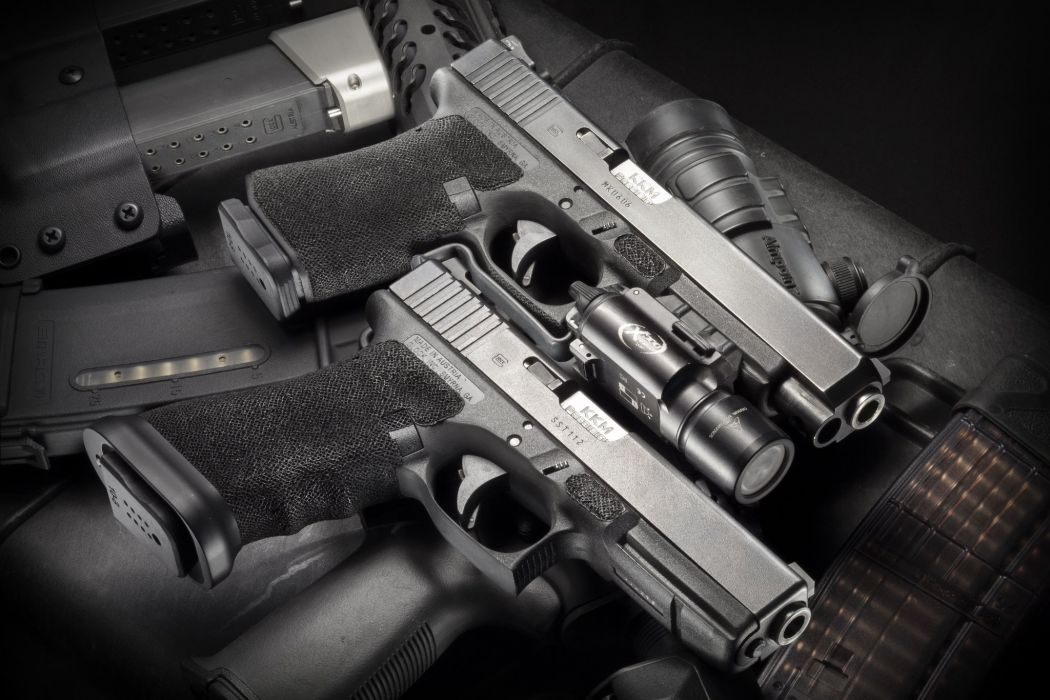 Glock 17 19 Guns Flashlight Weapon Pistol Military Weapom Gun Police Wallpaper