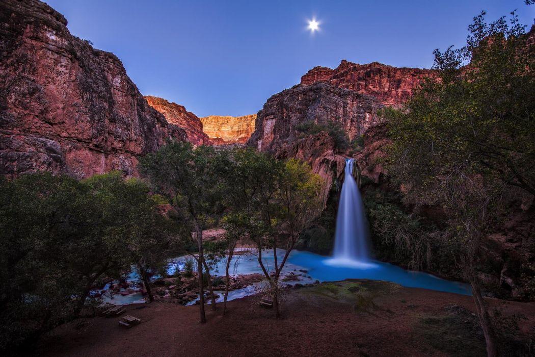 Grand Canyon Havasu Falls Havasupai Reservation Arizona sky stars rocks waterfall pond trees aquamarine sandstone nature landscape wallpaper