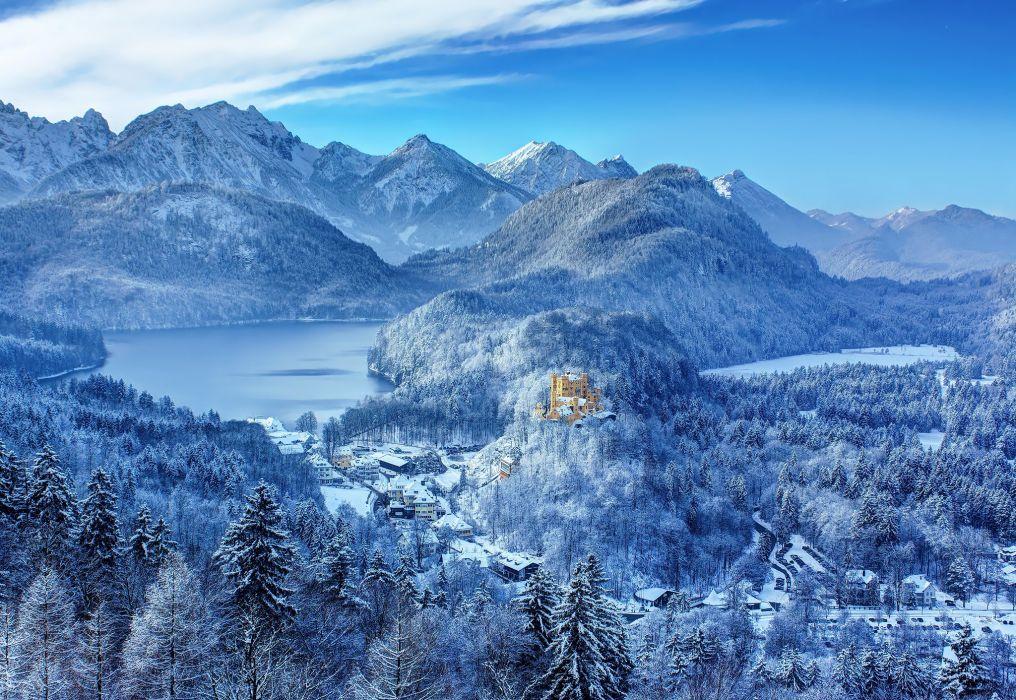 Germany southern Bavaria castle Hohenschwangau Hohenswangau winter snow mountains lake forest wallpaper