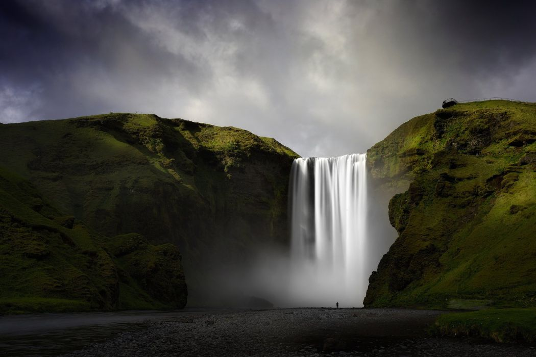 Iceland waterfalls river water mountains rocks fog nature landscape mood wallpaper