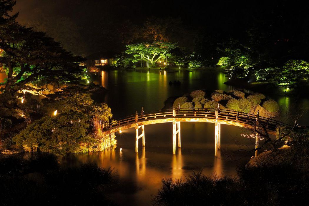 Japan Parks Rivers Bridges Takamatsu Ritsurin garden Night Nature wallpaper