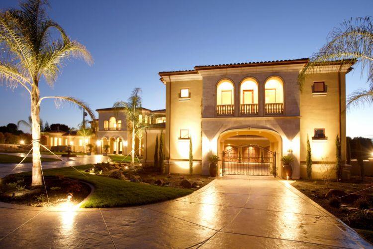 Houses Mansion Design Night Street lights Palma Cities wallpaper