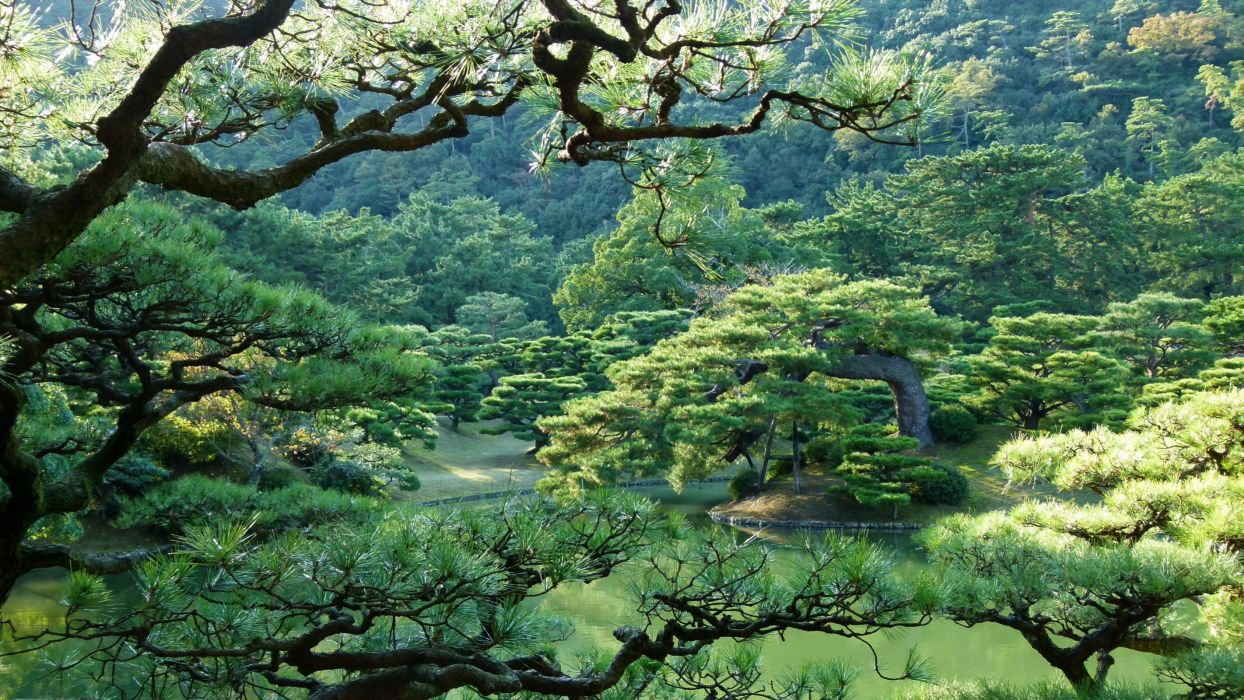 Japan Parks Takamatsu Ritsurin garden Trees Nature wallpaper