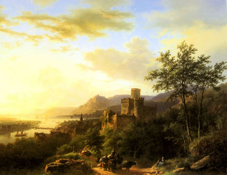 Koekkoek Barend Cornelis the travelers the river the castle the sunset artwork painting wallpaper