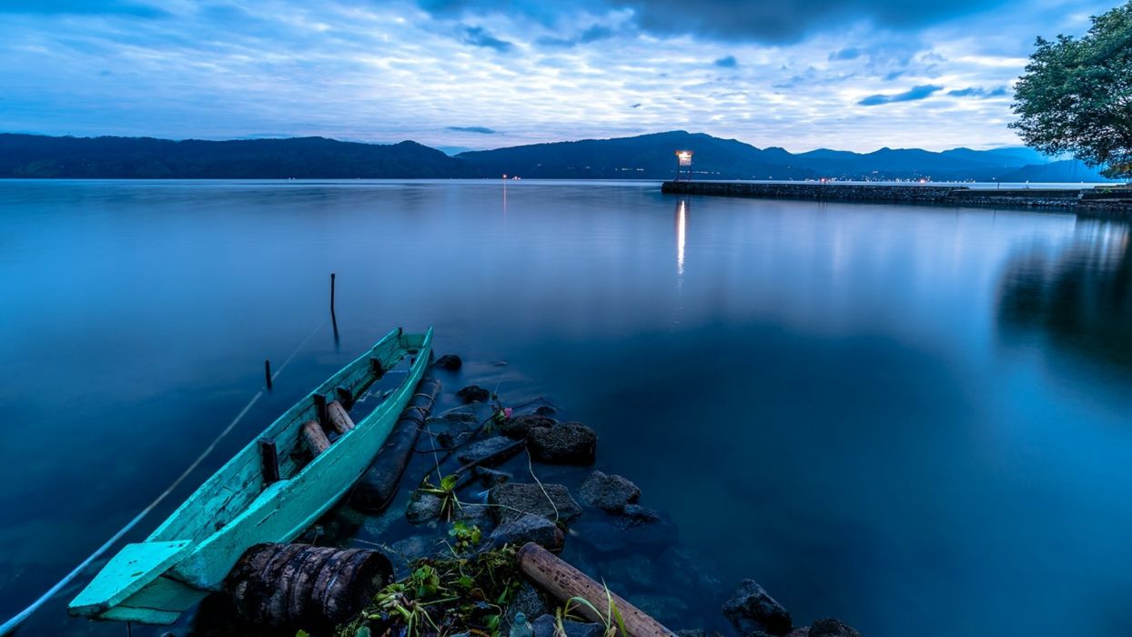 lake boat landscape wallpaper