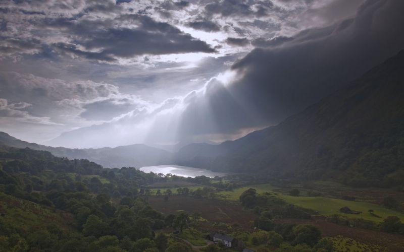 landscape mountains houses cloud light lake wallpaper
