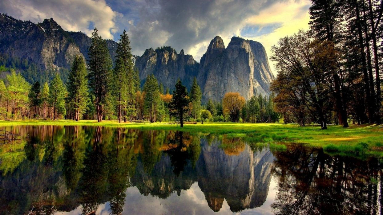 lake mountain forest reflection nature landscape autumn wallpaper