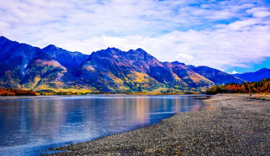 Knik River Alaska river mountain landscape autumn wallpaper