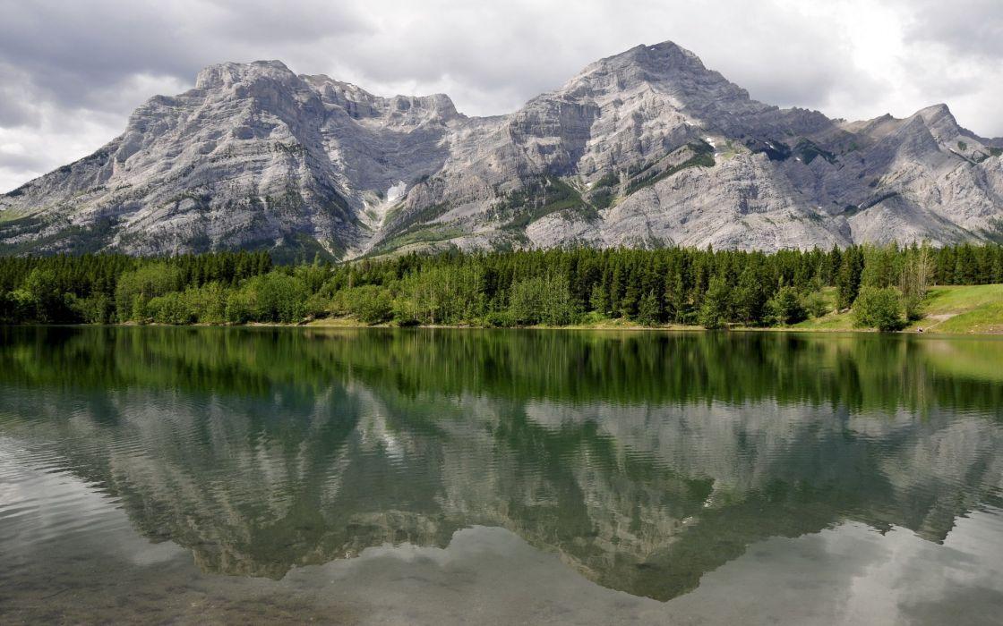 landscape reflection mountains water wallpaper