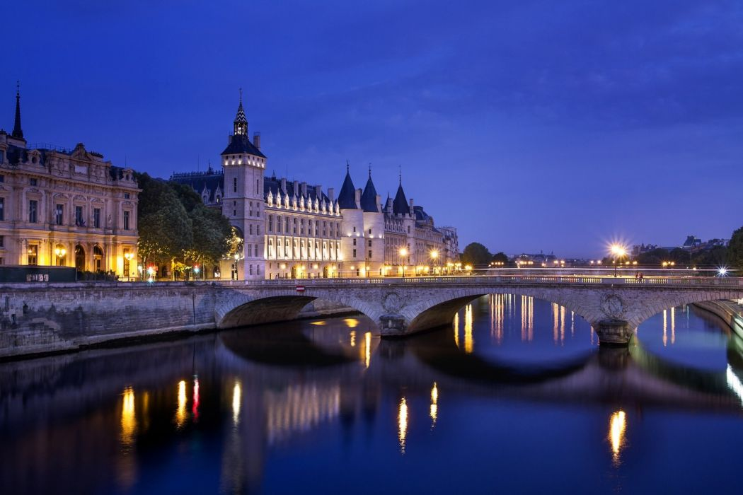 Lights city river France wallpaper