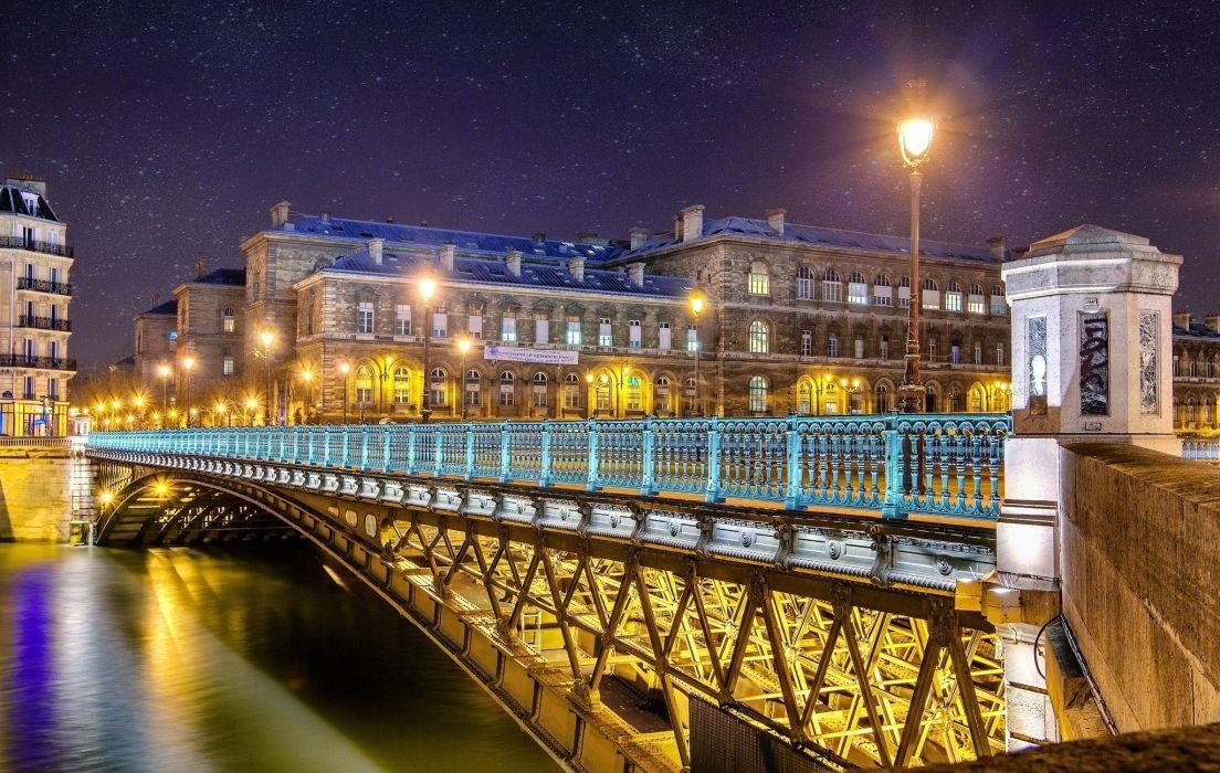 Lights night river France Cities bridge wallpaper