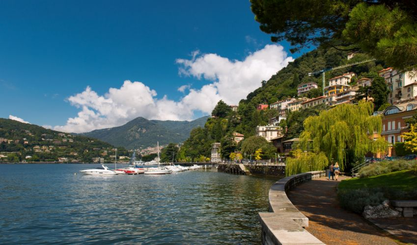 Lake Como Como Lombardy Italy Lake Como promenade marina boat landscape lake wallpaper