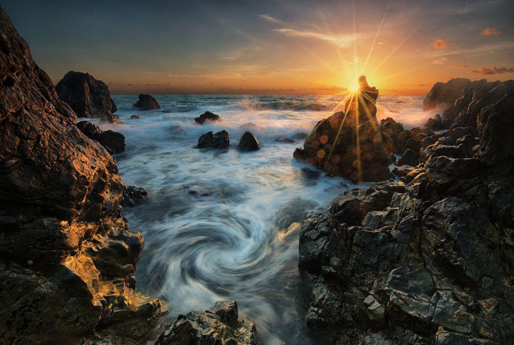 Mackay Queensland Australia Coral Sea the sea rocks dawn sunrise wallpaper
