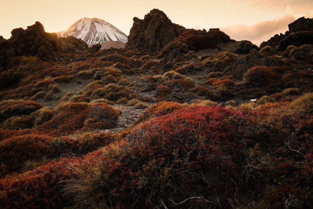 mountain volcano stratovolcano Mount Ngauruhoe Tongariro New Zealand wallpaper
