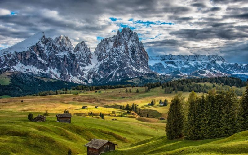 mountains hills houses trees italy landscape wallpaper