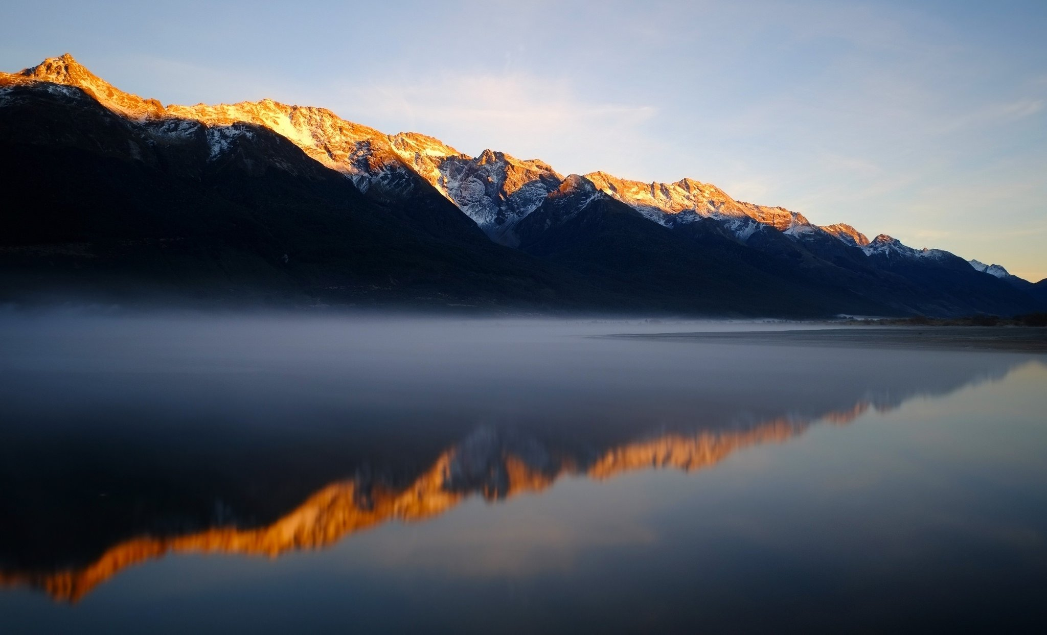 Mountains snow lake water dawn fog reflection nature landscape
