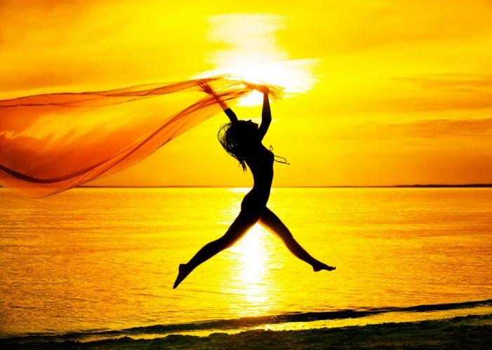 mood girl jump silhouette sea sunset sky beach wallpaper