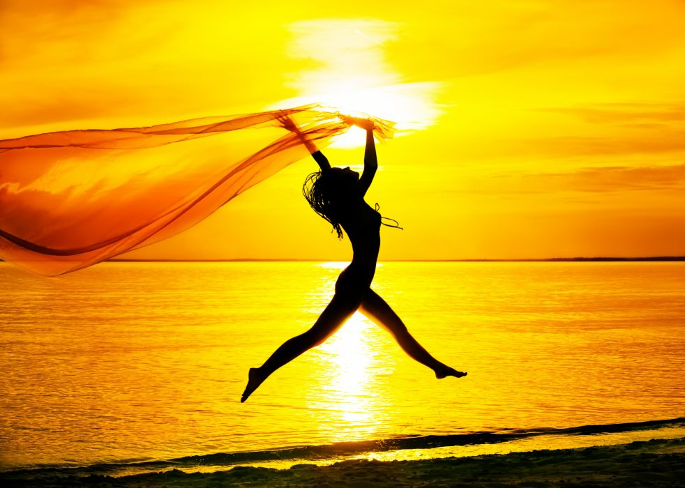 mood girl jump silhouette sea sunset sky beach wallpaper