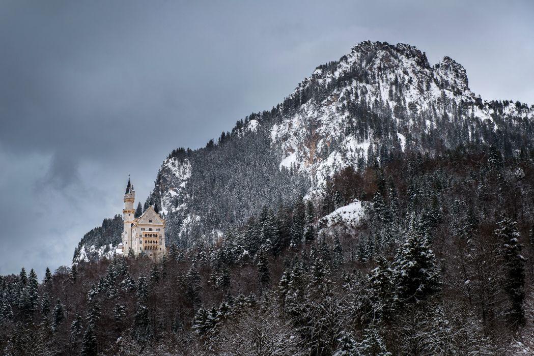 Neuschwanstein Castle Bavaria Germany castle mountain forest winter wallpaper