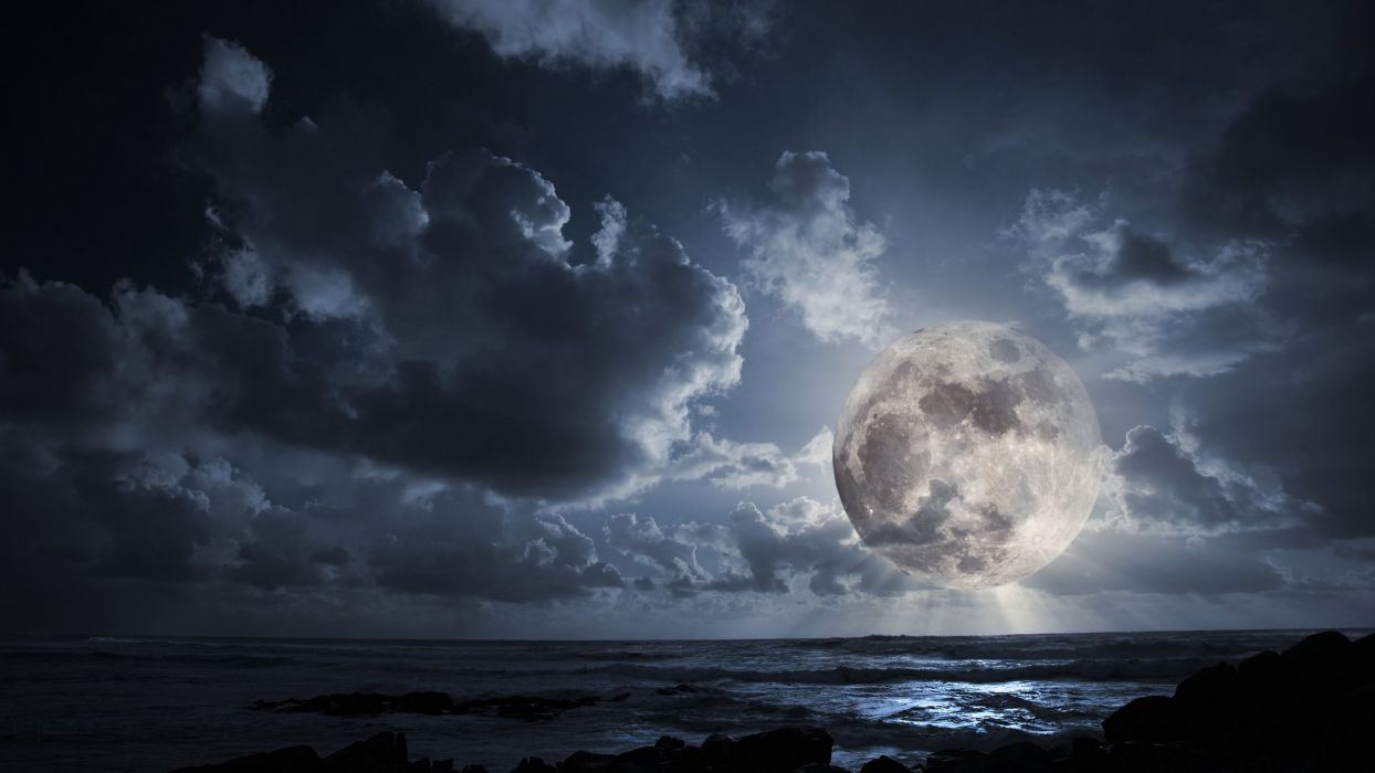 night sea clouds moon wallpaper