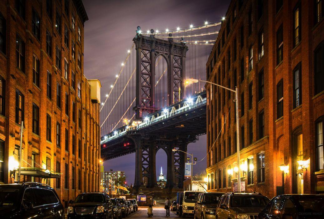 New York USA Manhattan Manhattan Bridge bridge buildings streets cars architecture evening night lights city wallpaper