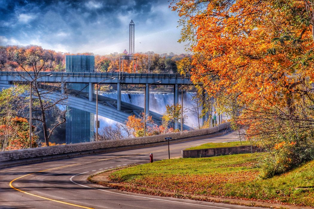 Niagara Falls Onatrio Canada American Falls landscape waterfall autumn road bridge wallpaper