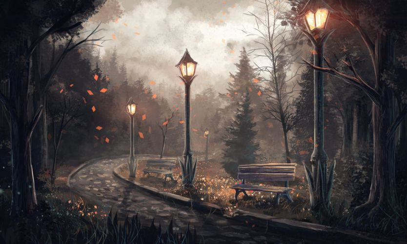 Pictorial art Street lights Fir Bench Pavement Fantasy Nature autumn wallpaper