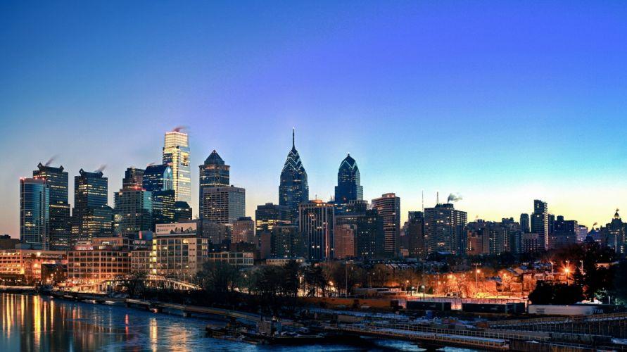 Philadelphia Pennsylvania USA sky buildings skyscrapers skyline river water night sunset lights city wallpaper