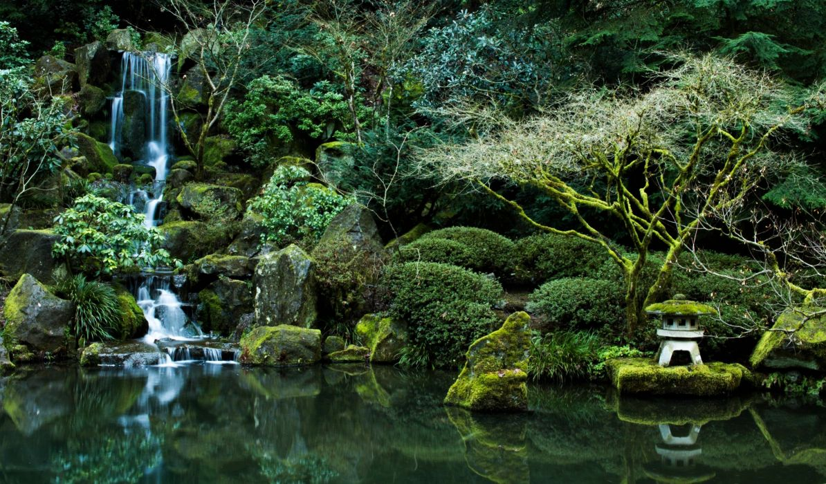 Pond Nature Rocks Portland Oregon Japanese Garden Wallpaper