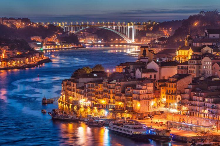 Portugal sunset evening river water cities buildings houses bridges lights boats landscape wallpaper