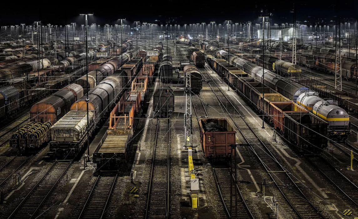 railroad train night wallpaper