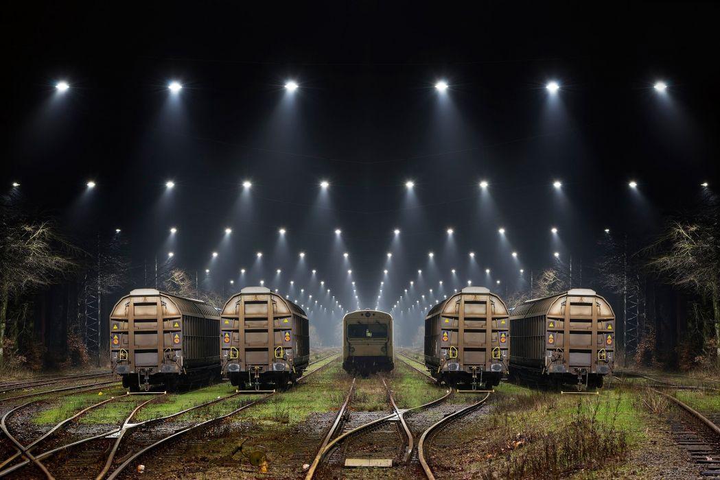 railroad trains night spotlight train painting artwork wallpaper