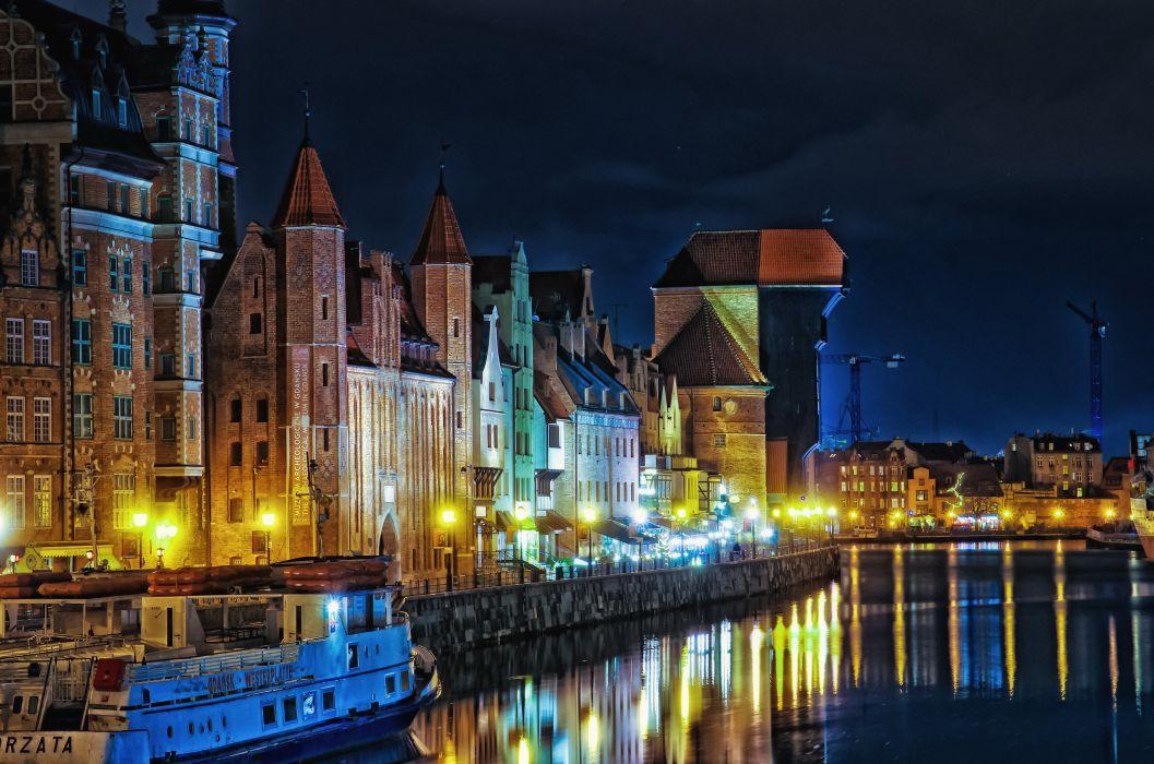 Poland Houses Rivers Gdansk Night Street lights Citie wallpaper
