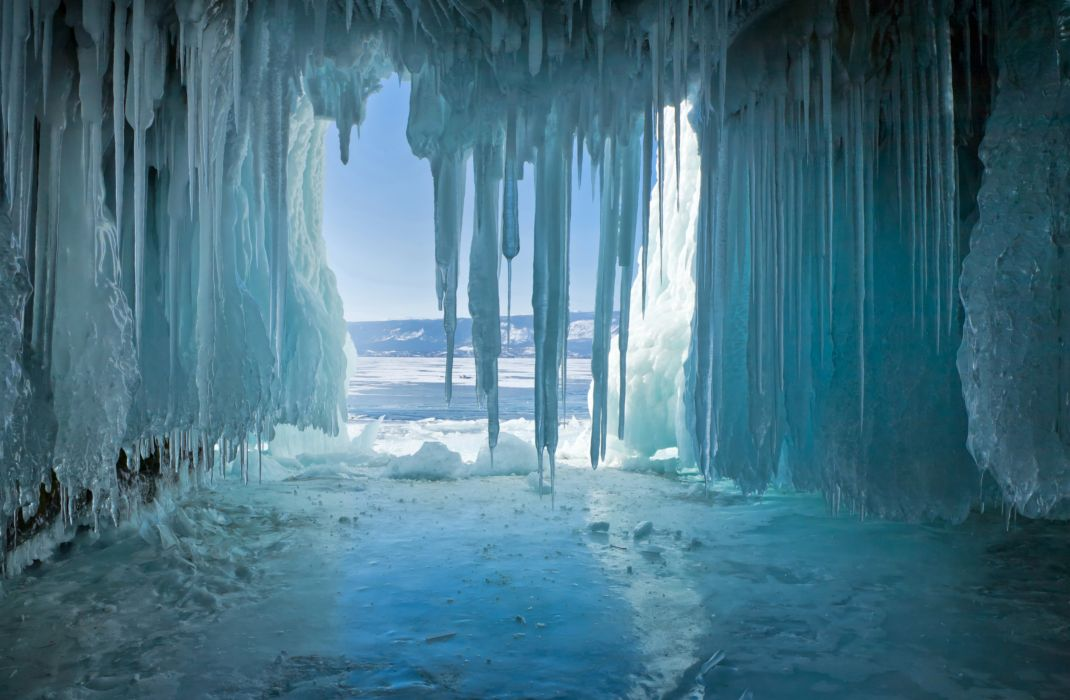 Russia Lake Winter Baikal Ice Nature wallpaper