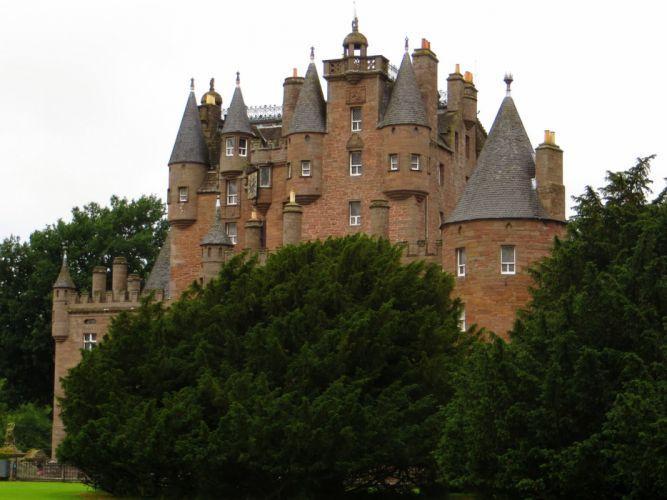 Scotland Castle Glamis Trees Cities wallpaper