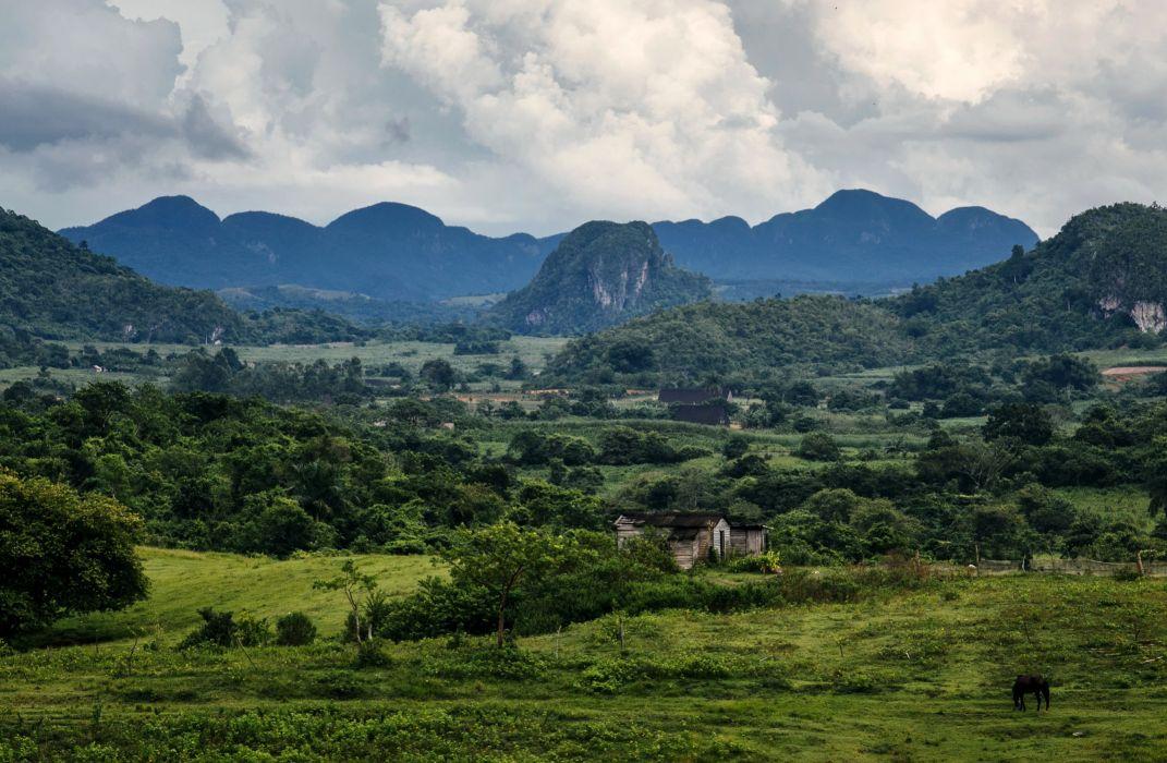 Scenery Mountains Fields Vinales Cuba Nature wallpaper
