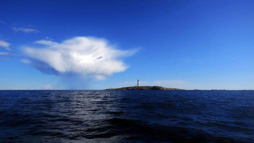 sea sky island lighthouse wallpaper