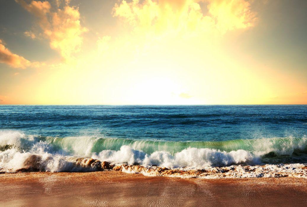 Sea Waves Coast Sky Nature wallpaper